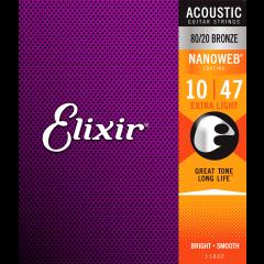 Elixir Nanoweb Bronze 80/20 Extra Light 10-47 - Vue 2