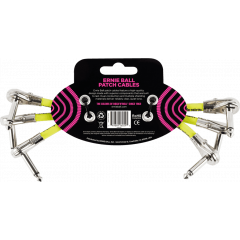 Ernie Ball Cables instrument patch pack de 3 - coudé fin - 15cm noir - Vue 2