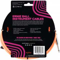 Ernie Ball Cables instrument gaine tissee jack/jack coudé7,62m orange - Vue 2
