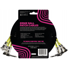 Ernie Ball Cables instrument patch pack de 3 - coudé - 30cm noir - Vue 2