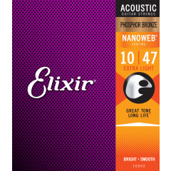 Elixir Nanoweb Phosphor Bronze Extra Light 10-47 - Vue 2