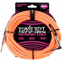 Ernie Ball Cables instrument gaine tissee jack/jack coudé7,62m orange - Vue 1