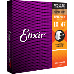 Elixir Nanoweb Phosphor Bronze Extra Light 10-47 - Vue 1