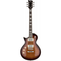 LTD EC-256FMLH dark brown sunburst gaucher - Vue 1