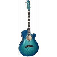 Takamine Thin Line TSP178AC see through blue burst - Arched top - Vue 1