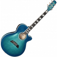 Takamine Thin Line TSP178AC see through blue burst - Arched top - Vue 2