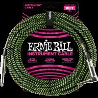 Ernie Ball Jack/jack coudé 3m noir et vert - Vue 1